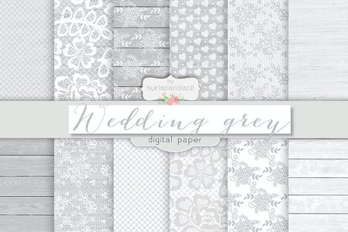 Thumbnail for Grey wedding digital paper pack