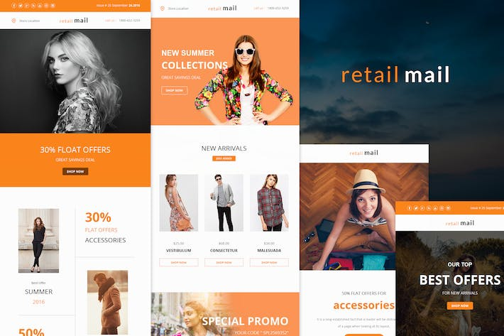 Thumbnail for Retail Mail - Responsive E-mail Templates set