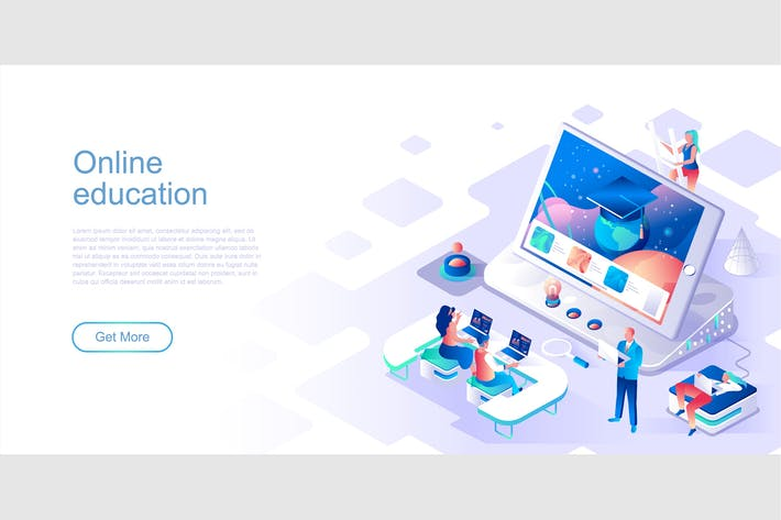 Online Education Isometric Flat Concept Header