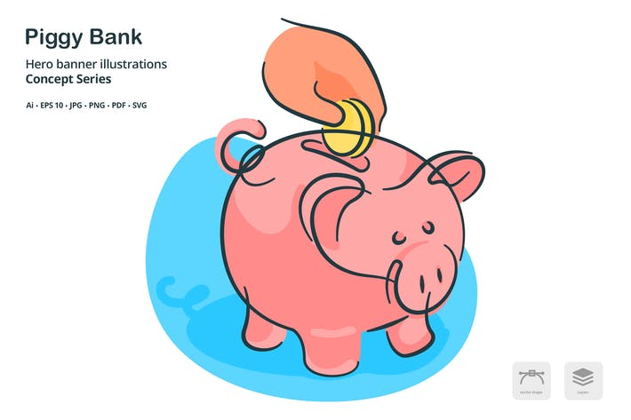 Thumbnail for PIggy Bank Finance Vector Illustration