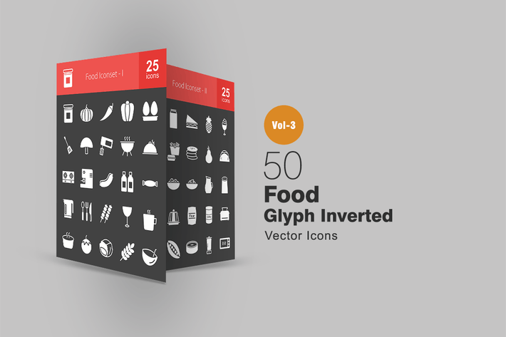 Thumbnail for 50 Food Glyph Inverted Icons