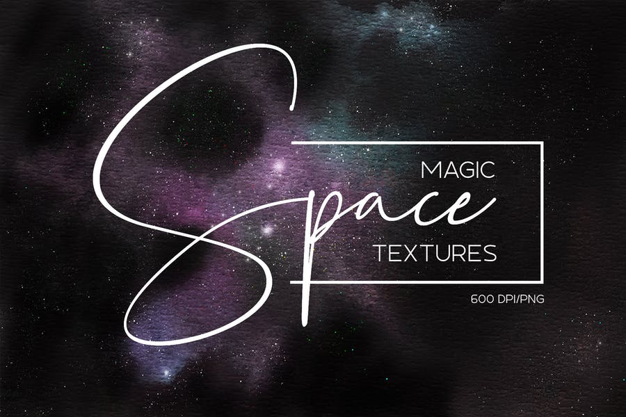 Watercolor space cosmic backgrounds set