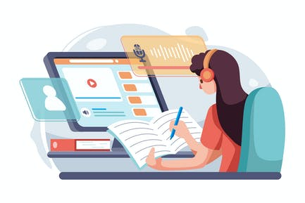 The girl learn english listening online.
