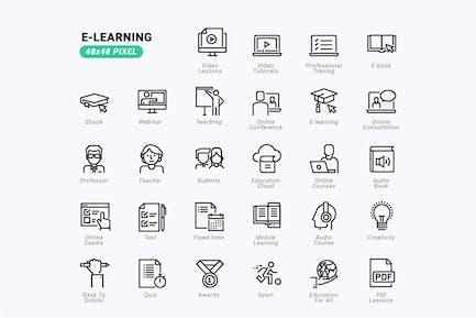 Conjunto de Íconos de línea delgada de e-Learning