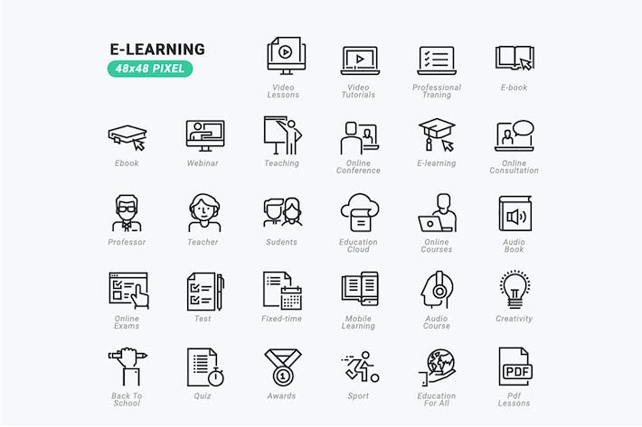 Thumbnail for Thin Line Icons Set of E-learning