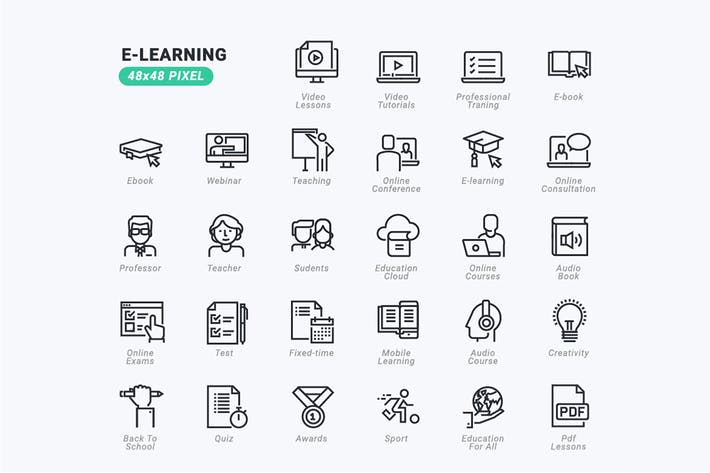 Thin Line Icons Set von E-Learning