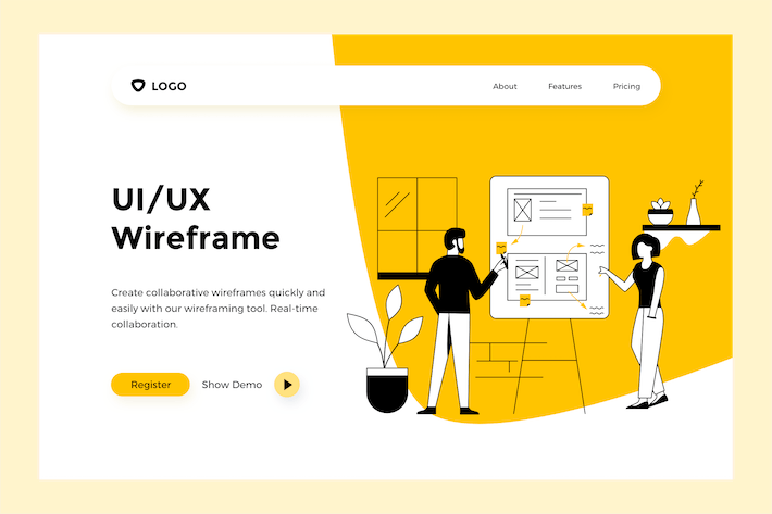 Thumbnail for UI/UX Wireframe - Web Mobile Landing Page Banner
