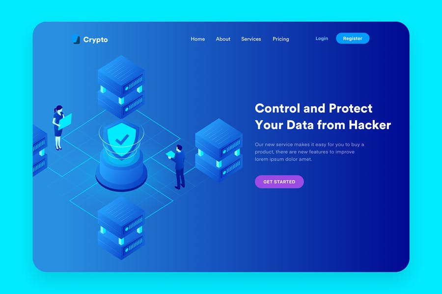 Data Security Desktop Header Illustration