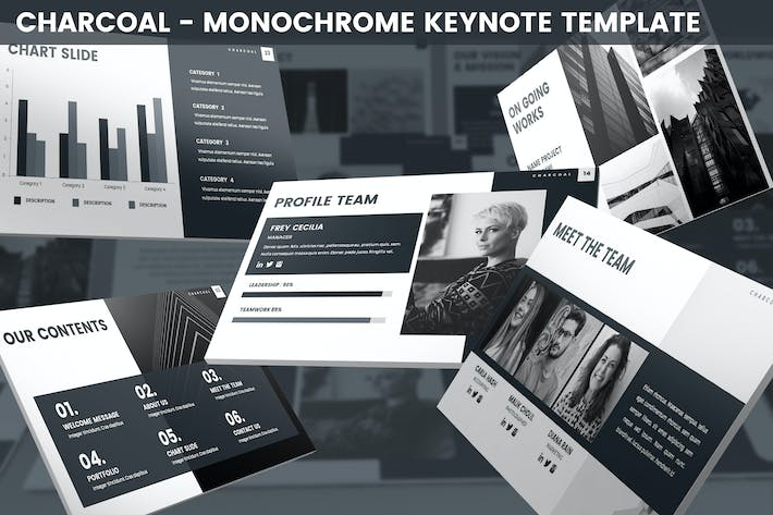 Thumbnail for Charcoal - Monochrome Keynote Template