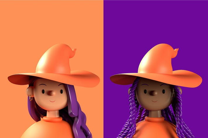 Thumbnail for Halloween Witch 3D Illustration  — Toy Faces