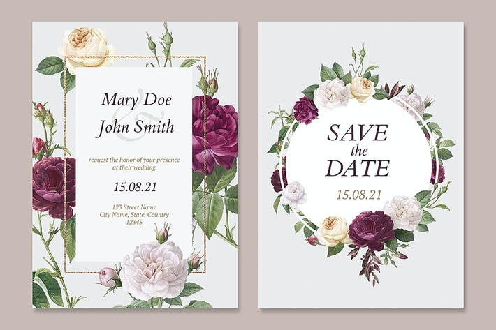 Thumbnail for Floral wedding invitation card vectors set