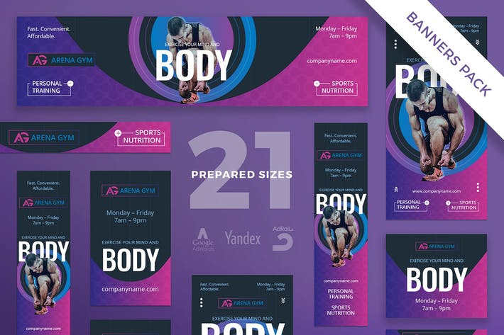 Cover Image For Gym Workout Banner Pack Template