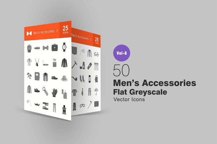 Thumbnail for 50 Men's Accessories Flat Greyscale Icons