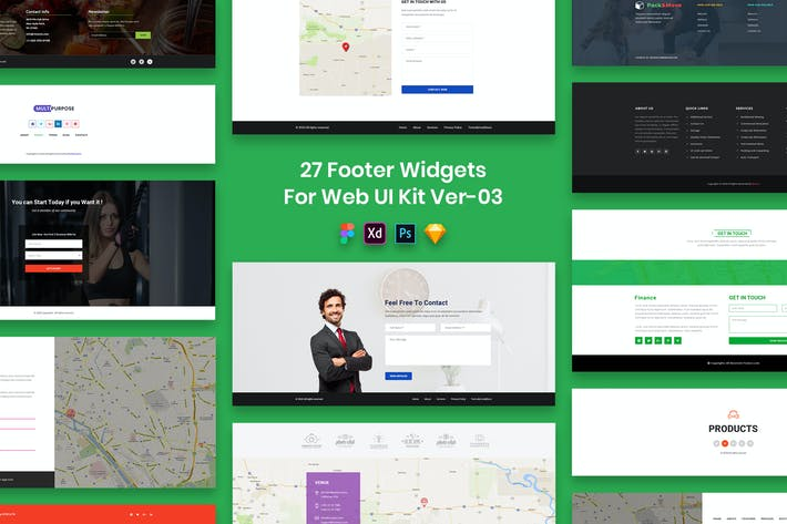 Thumbnail for 27 Footer Widgets for Web UI Kit Ver-03