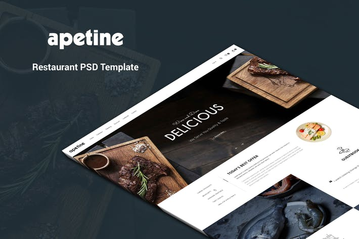 Cover Image For Apetine - Restaurant, Food PSD Template