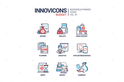 Budget - Vektor linien-Design-SIcons Set