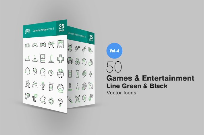 Thumbnail for 50 Games & Entertainment Line Green & Black Icons