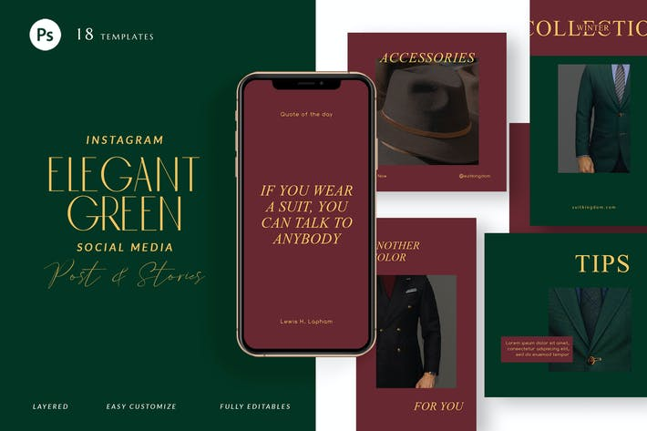 Thumbnail for Pack d'histoires Instagram Vert Élégant