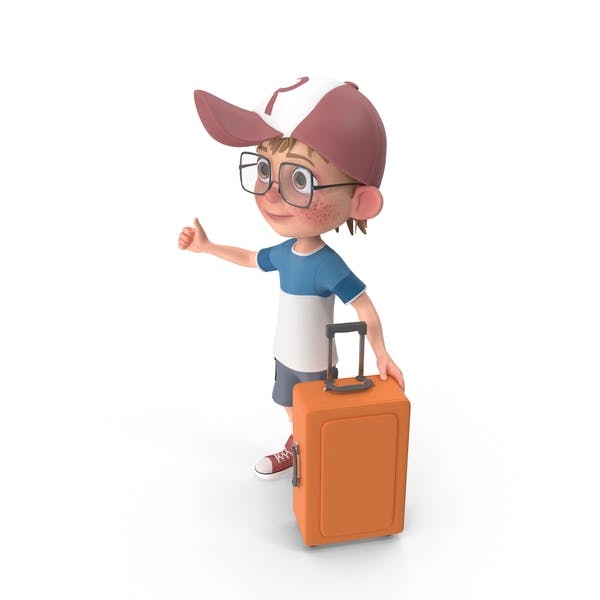 Cartoon Boy Travelling