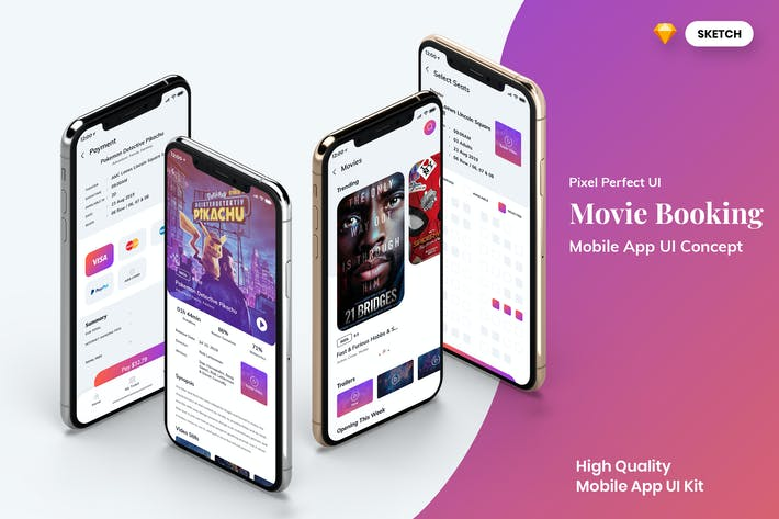 Thumbnail for Movie Booking MobileApp UI Light Version (SKETCH)