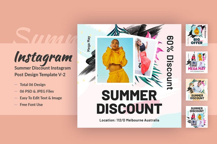 Thumbnail for Summer Discount Instagram Post Design Template V-2