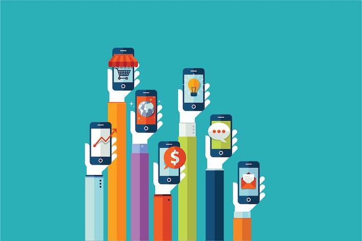 Flat Design Konzept für Mobiltelefon-Apps