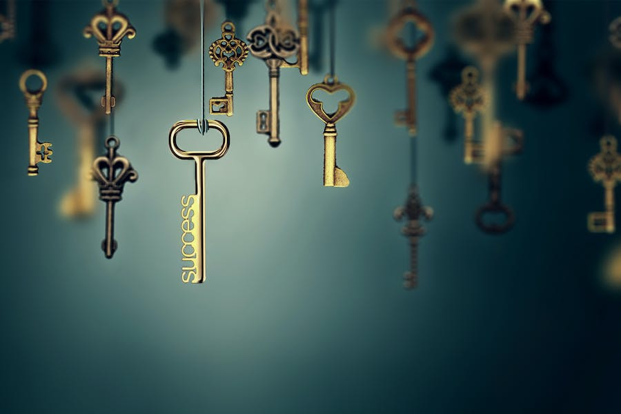 Conceptual image with hanging keys