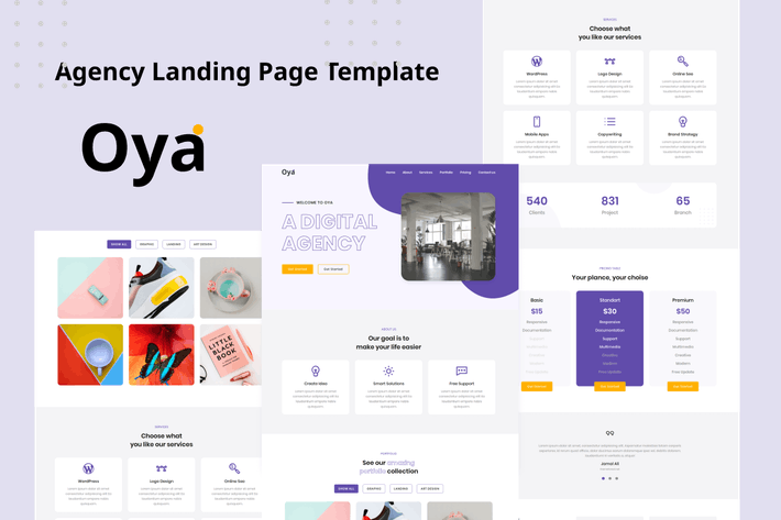 Thumbnail for Oya - Agency Landing Page Template