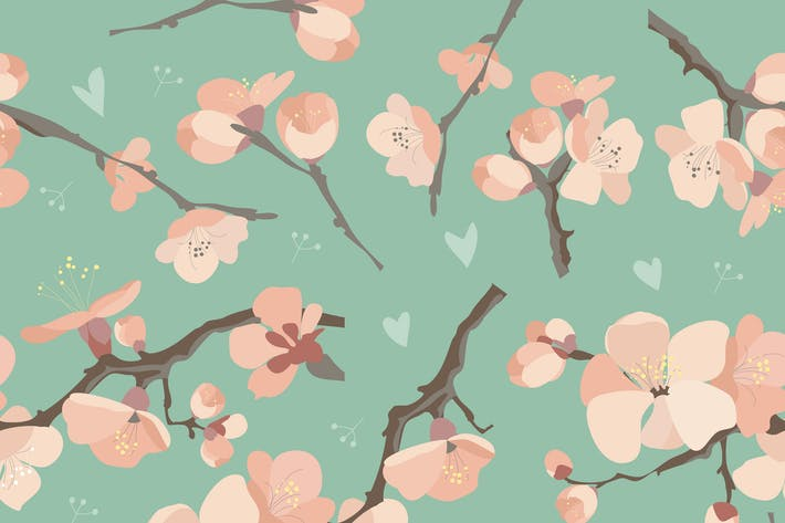 Thumbnail for Seamless spring flowers on tree branch pattern