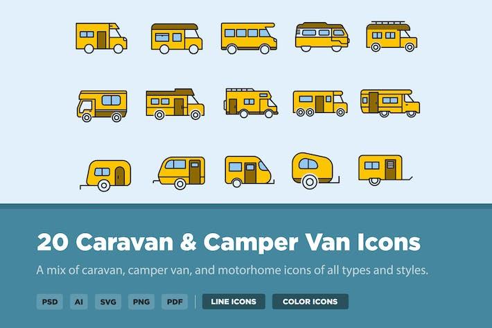 20 Caravan & Camper Van Icons
