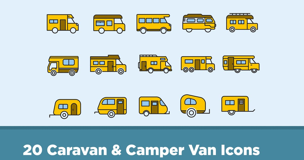 Download 20 Caravan & Camper Van Icons by creativevip