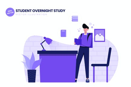 Student Overnight Study Flat Vector Illustration