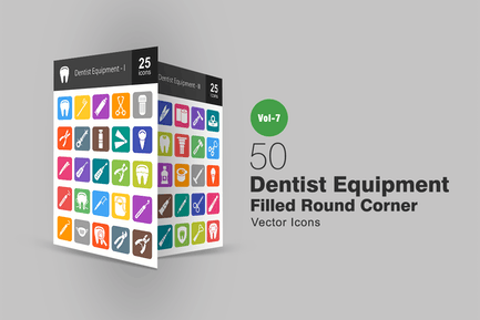 50 Dentist Equipment Filled Round Corner Icons