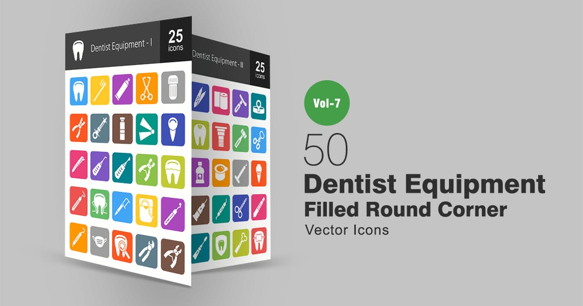 Download 50 Dentist Equipment Filled Round Corner Icons by IconBunny