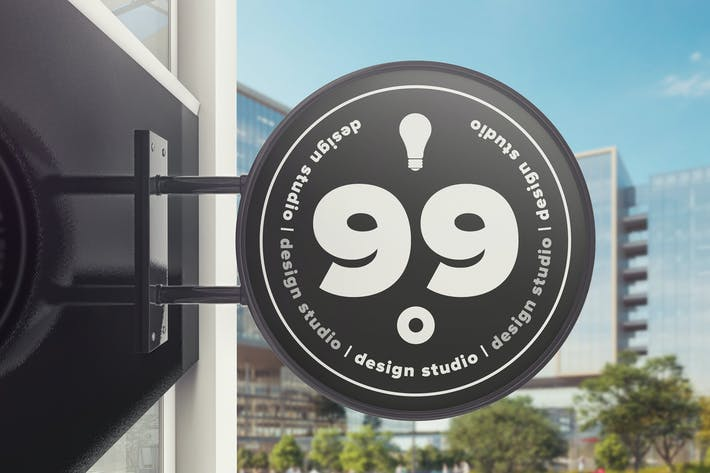 Thumbnail for Building Advertising Round Sign Mockup