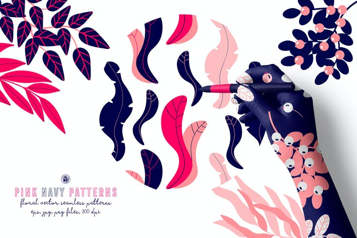 Thumbnail for Pink Navy Vector Patterns