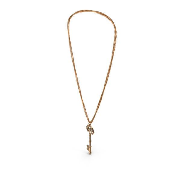Chained Fantasy Golden Key with Diamonds Hanged