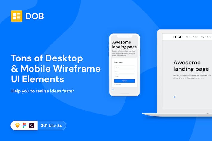 Thumbnail for Desktop & Mobile Wireframe Web UI Kit