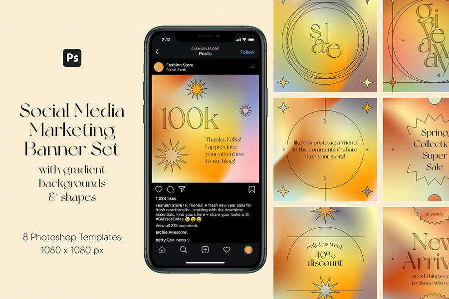 Social Media Marketing Banner Set with Gradients