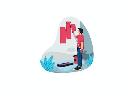 Painter Hombre at Trabajo Ilustración