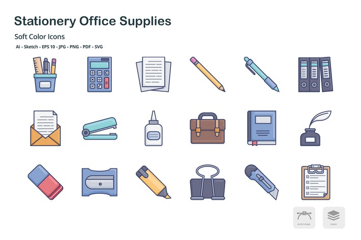 Stationery office supplies soft color icons