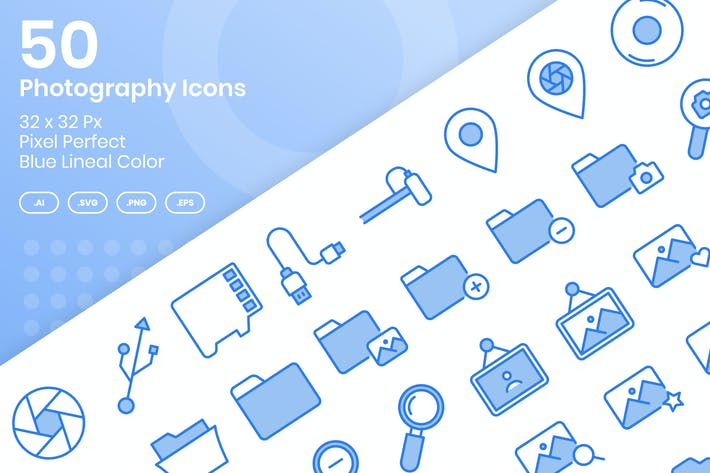 Thumbnail for 50 Photography Icons Set Vol 1 - Blue Lineal Color