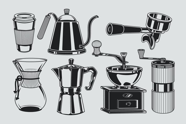 Thumbnail for Coffee Illustration Black & White