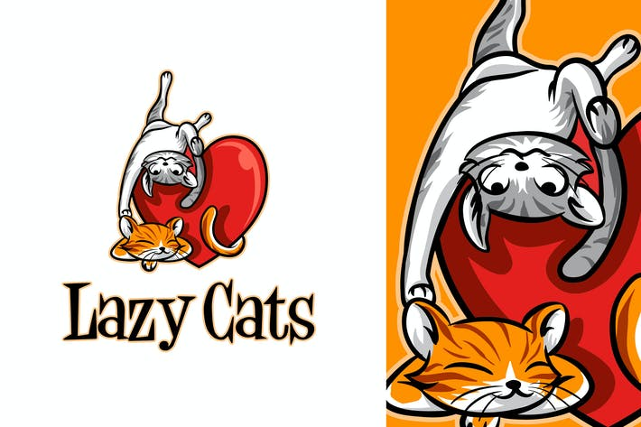 Thumbnail for Lazy Cats - Pet Cat Mascot Logo