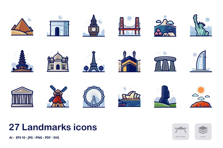 Thumbnail for Landmarks detailed filled outline icons