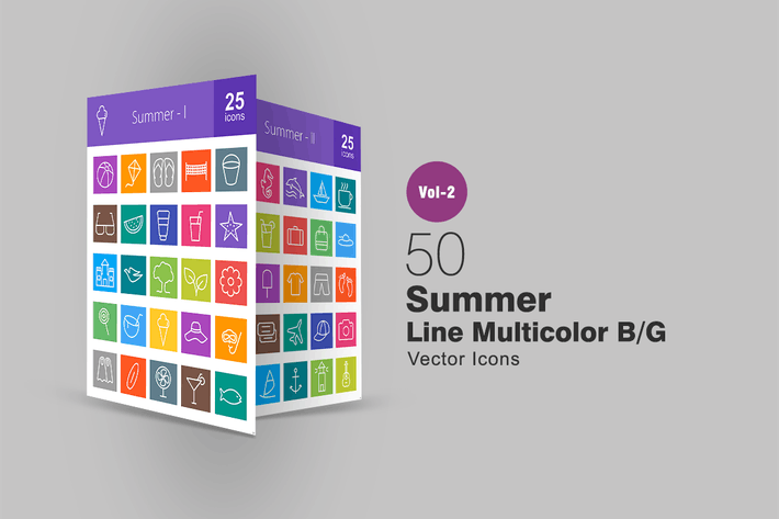 Thumbnail for 50 Summer Line Multicolor Icons