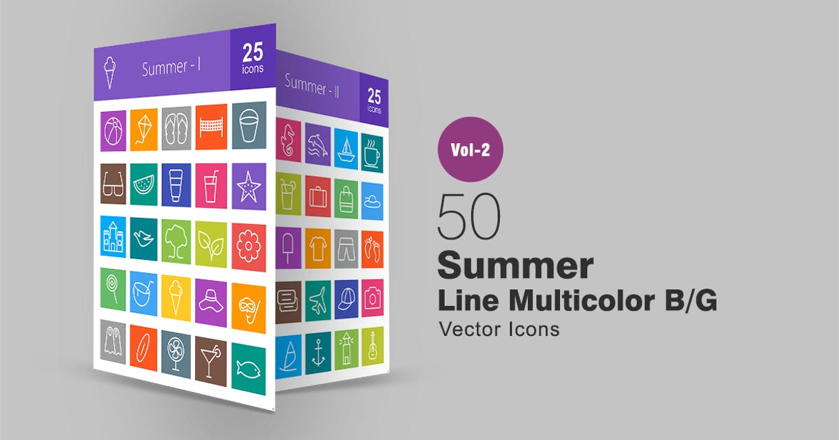 Download 50 Summer Line Multicolor Icons by IconBunny