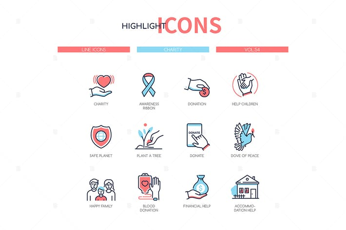 Thumbnail for Charity concept - line design style icons set