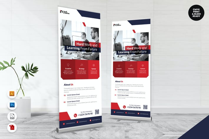 Thumbnail for Creative Roll Up Banner AI & PSD Template Vol.33