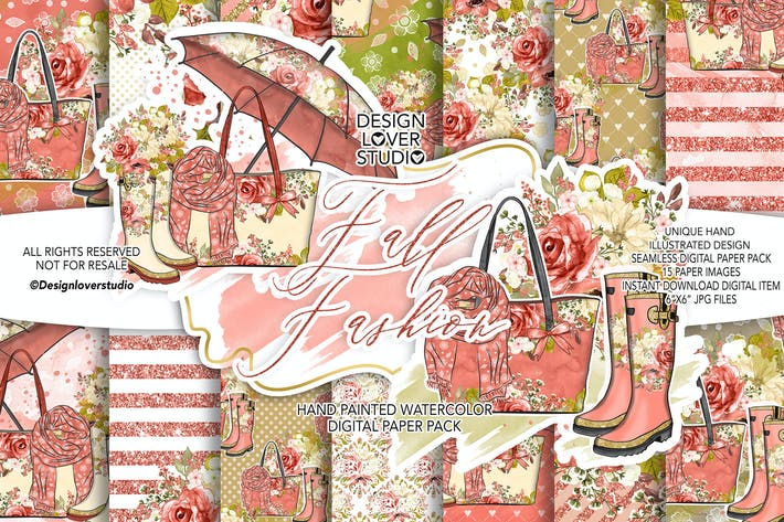 Thumbnail for Fall Fashion digital paper pack